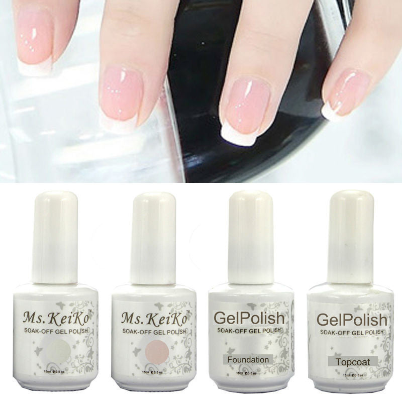 Shellac Gelishgel French White Pink color UV LED Soak Off Gel Nail Polish French Tips-4pcs/setv
