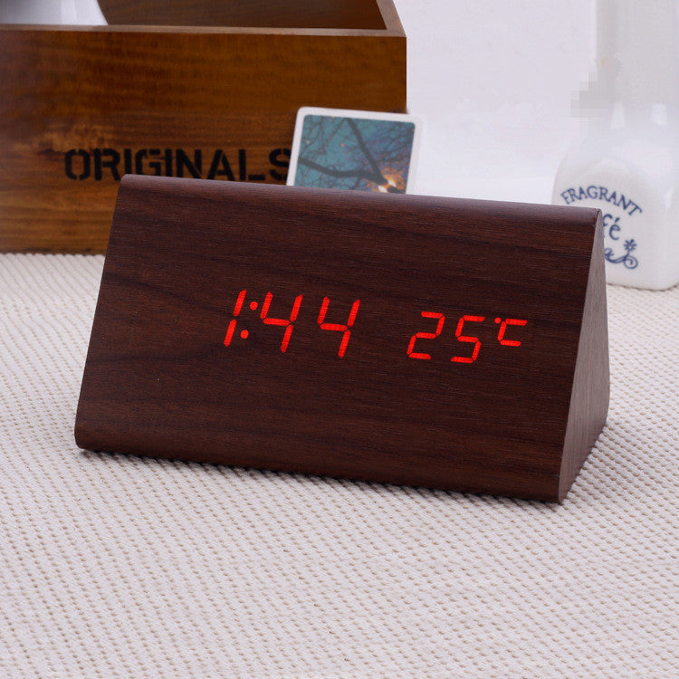 Decorative table clocks Control Sensing Alarm Temp dual Display Electronic LED Clock Vintage Wooden Digital Alarm Clock