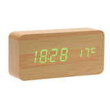 Calendar Relogio De Mesa Rectangle LED Digital Alarm Wood Wooden Clock Temperature Display Voice Sound Control