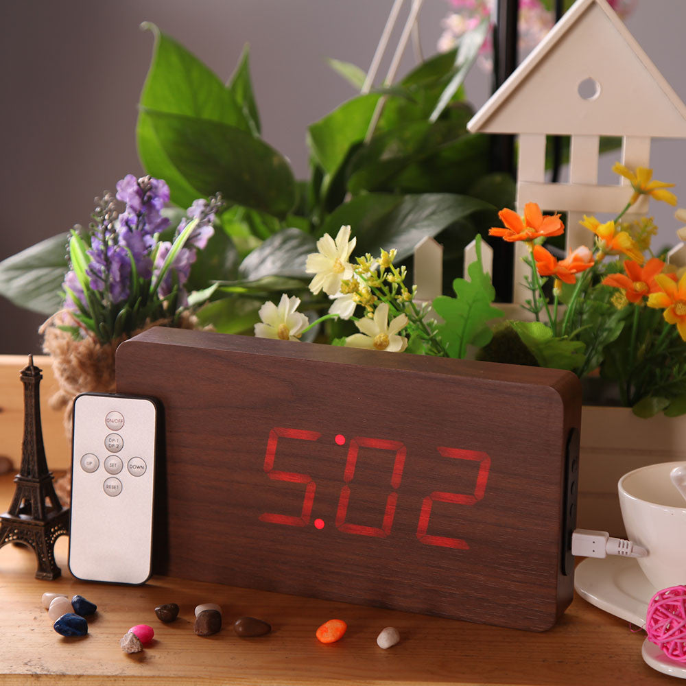 Remote Control Alarm LED Digital Wood Wooden Clock Temperature Display Voice Sound Activated DC6V Perpetual Calendar