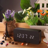 USB DC6V Calendar Despertador Rectangle Digital Alarm LED Wood Wooden Clock Temperature Display Voice Sound Clocks
