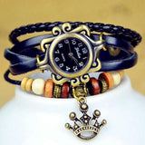 New Quartz Stylish Weave Wrap Around Leather Bracelet Lady Wrist Watch