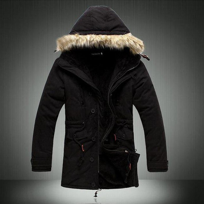 Hot Sale Men's Solid Comforatble Causal Long Warm Coat Male Fashion Padded Hooded Winter Wear Thick Coat