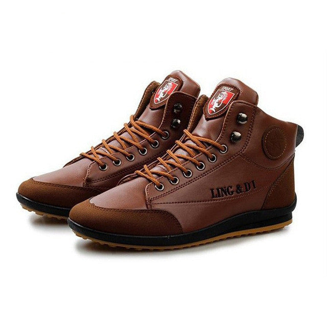 Hot Sale Men's Fashion PU Leather Boots Male Casual All-Match Spring Autumn Wear Shoes