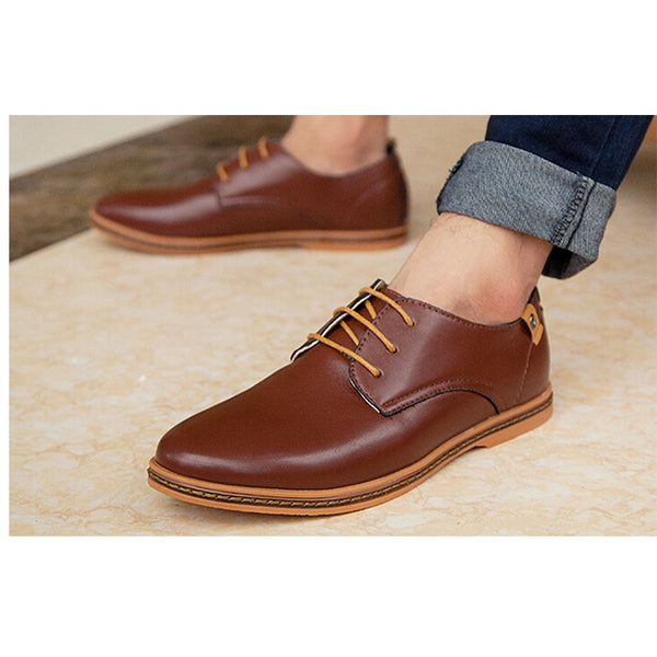 Men Shoes Leather Casual Lace Up Brown Black Men Shoes Buycoolprice