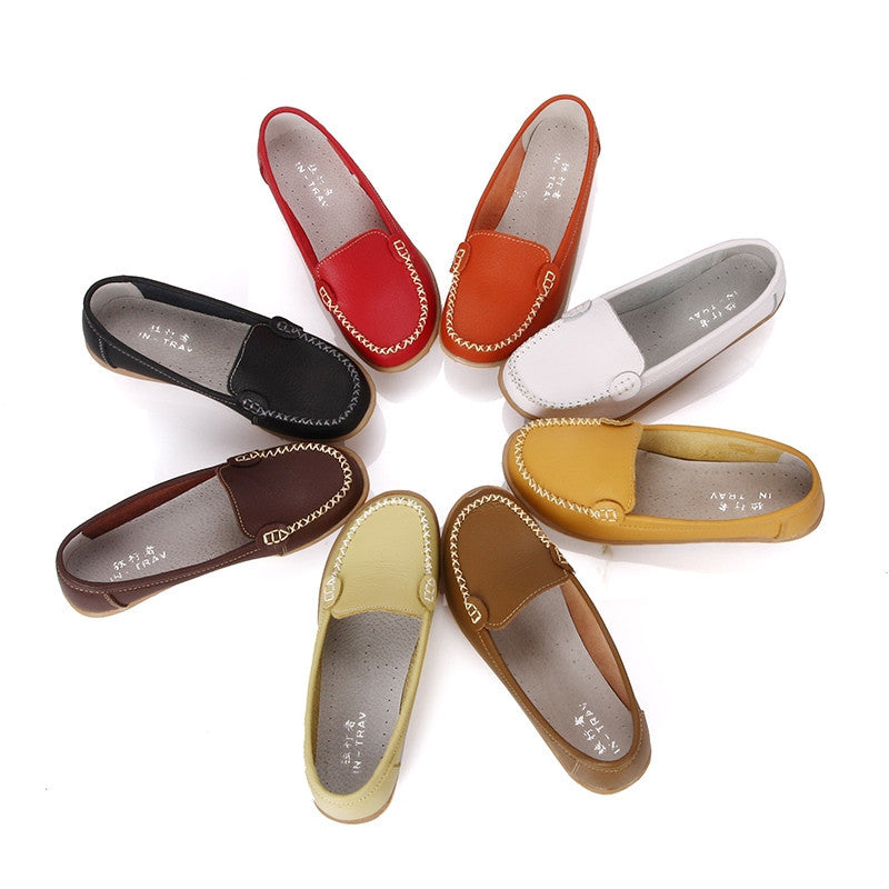 Shoes Woman Genuine Leather Women Shoes Flats 8 Colors Loafers Slip On Women's Flat Shoes