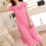 New Arrival Women's Summer Soft Solid Comfortable Nightgowns Simple Knee-Length Sleepwear