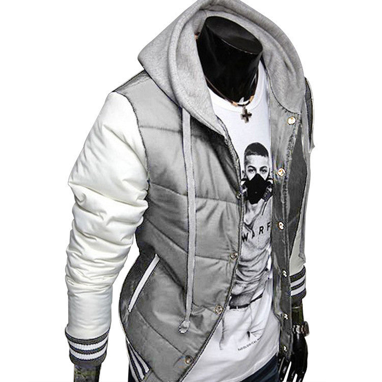 New Fashion Men's Leisure Hooded Spell Color Baseball Style Coat Winter Active Casual Parka Cotton Jacket