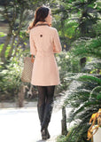 spring fashion medium-long waist breasted solid color Womens Lady Double Breasted Long Jacket Scarf Coat Outwear