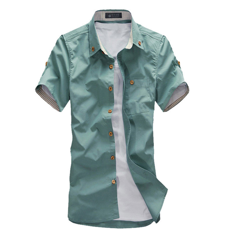 Hot Sale Men's Fashion Short Sleeve Shirts.Top Brand Quality Summar Slim Shirts