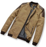 New men's clothing leather patchwork casual jacket male outerwear