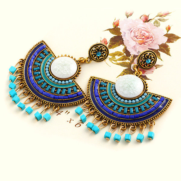 New Design Fashion Charm Vintage Bohemian beads earrings jewelry Alloy hollow flower Pendant drop earrings for women