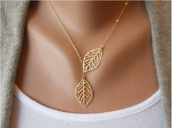Simple European New Fashion Vintage Punk Gold Hollow Two Leaf Leaves Pendant Necklace Clavicle Chain Charm Jewelry Women