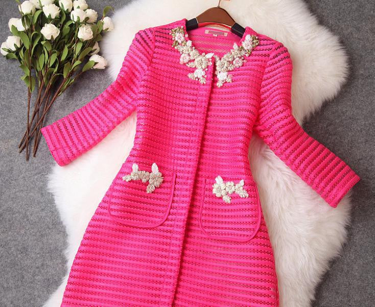 Winter coat Women's Good Qualit Luxury ladies fashion ladies hand-beaded hollow jacket pocket