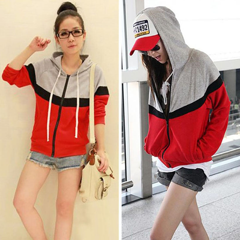 Sport Jacket Long Sleeve Zipper Casual Loose Spring Autumn Women Coat Sweatshirt Hoodies