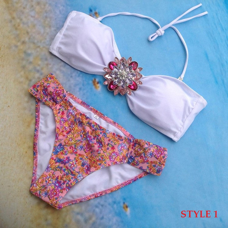 Summer Style Women Swimsuit New Arrive Sexy Rhinestone Bikini Set Crystal Push Up Swimwear Bikini Bathing Suit