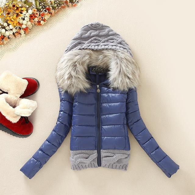 Winter Thickening With a Hood Short Design Wadded Jacket Large Fur Collar Down Jacket Cotton-Padded Fur Collar