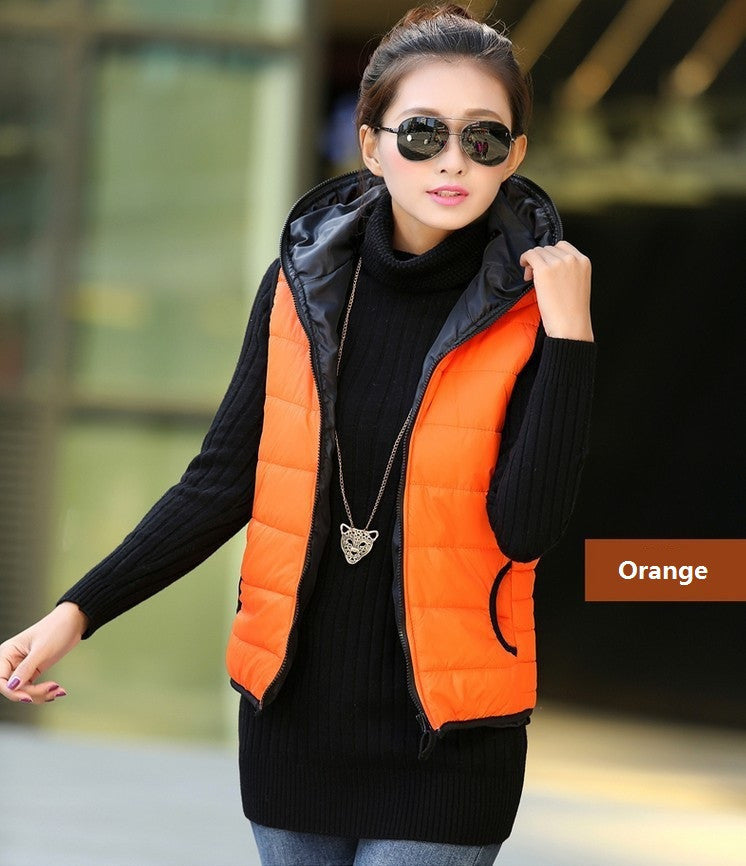 Spring Thickening Outerwear Hooded Patterns Fashionable Casual Cotton Women Vest Jacket Motorcycle Vest