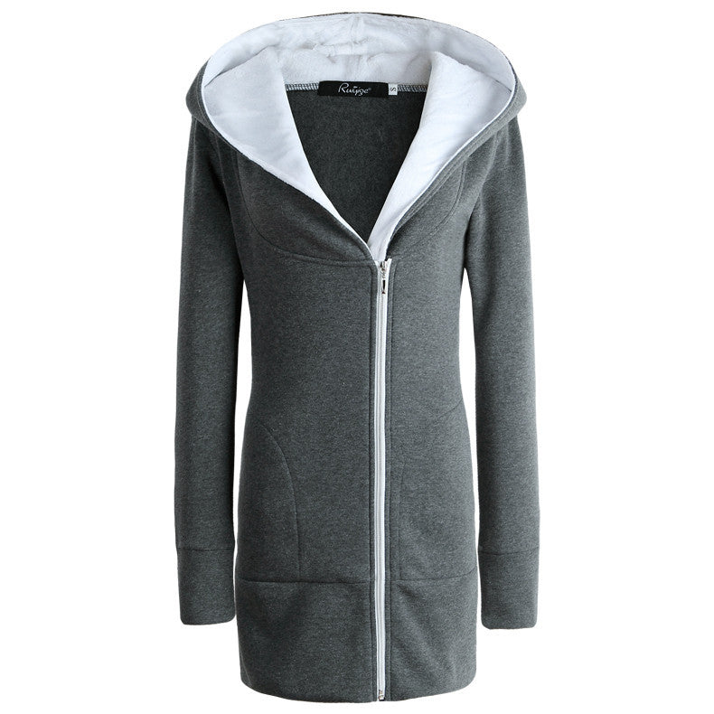 Women's Winter Slim Wool Hooded Coats Fur Collar Cotton Warm Long Coat Jacket Outwear Top