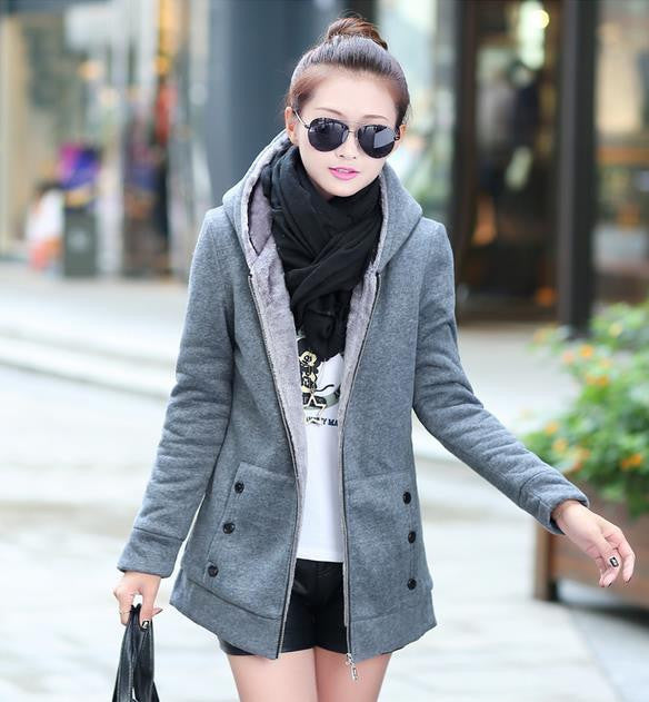 Fashion Korean Style Autumn Winter Women Coat Warm Thick Fleece Jacket Outerwear Hoodies Sweatshirts