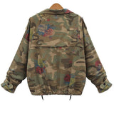 New Women's Camouflage Jackets Coat Zipper Denim Coats Army Green Outerwear