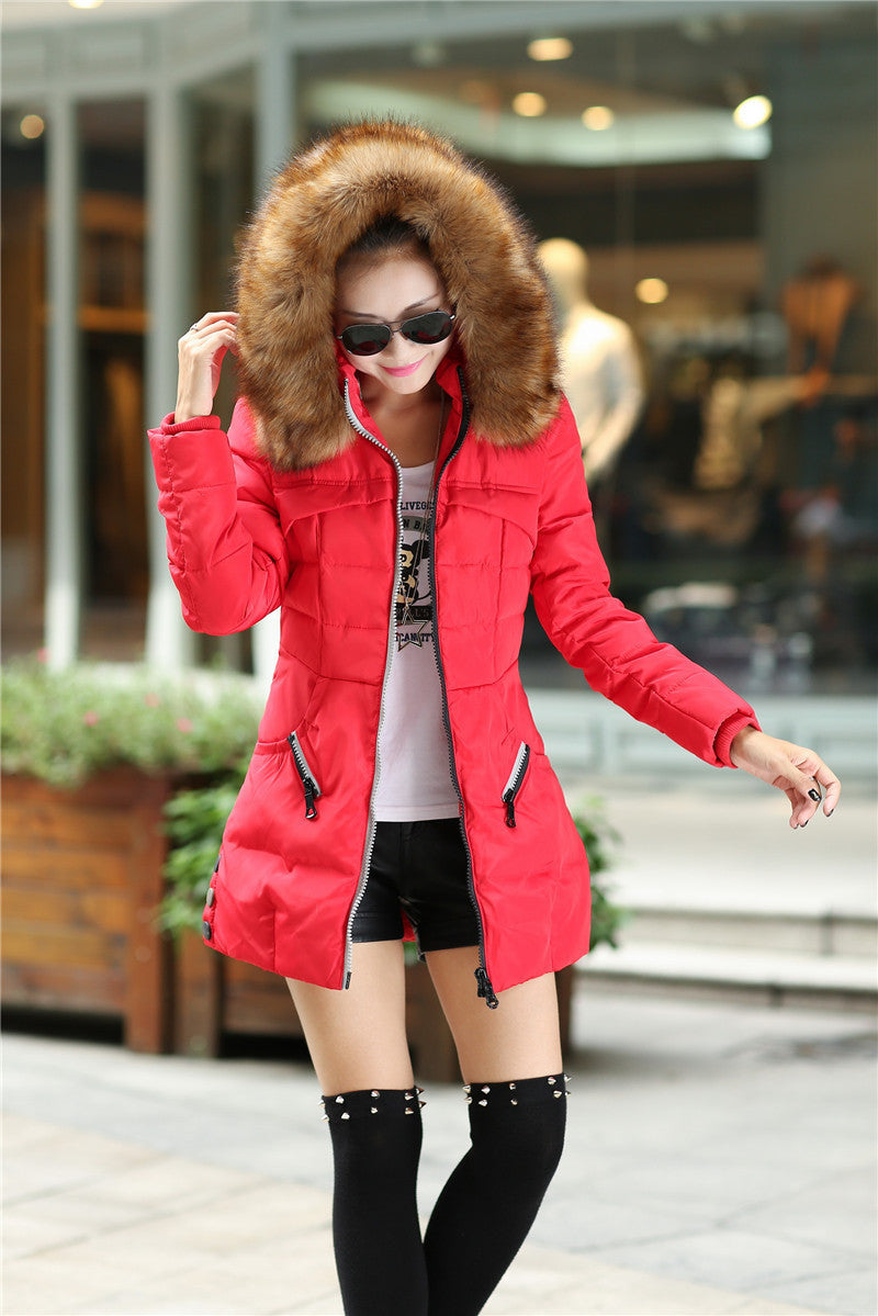 Winter Women Parka Outerwear Duck Down Jacket With Large Fur Collar