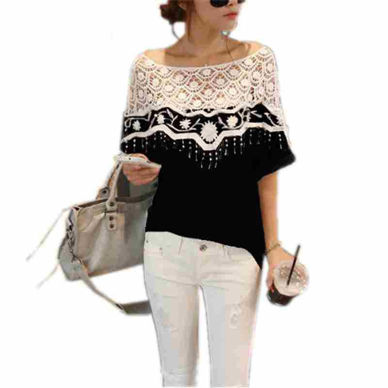 New Blusas Femininas Casual Summer Tops Women Hollow Crochet Shawl Collar Lace Top Blouse Shirt Clothing