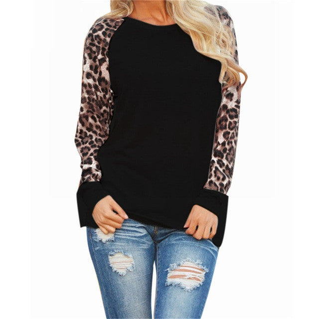 Spring Autumn Blusas Women Leopard Printed Clothing O Neck Long Sleeve T-shirt Ladies Tops