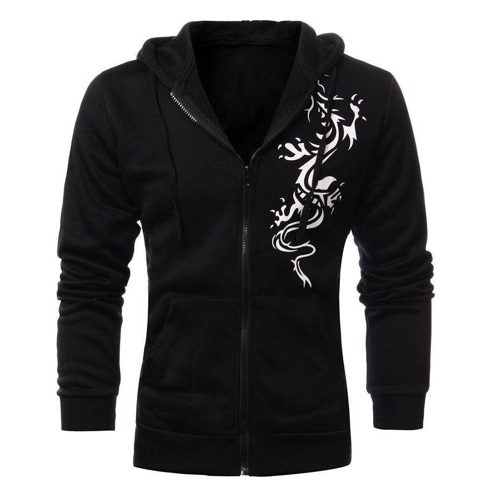 Mens Autumn Slim Hooded Fleece Hoodies Dragon Tattoo Printed Jacket Casual Cardigan Zipper Sweatshirt