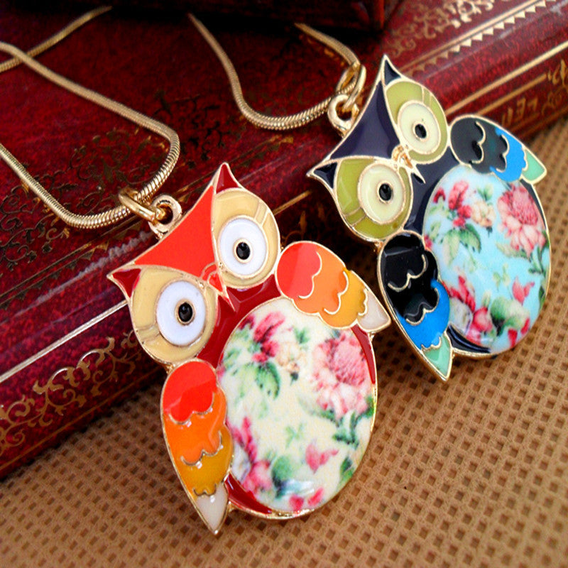 Fashion Multicolour Glaze Flower Short Design Owl Necklaces For Women The Owl Necklaces & Pendants