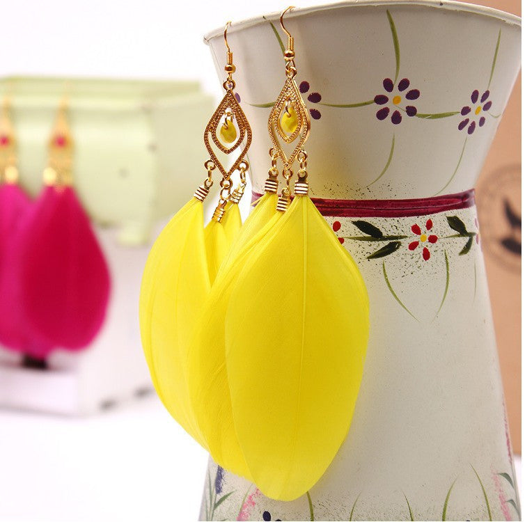 Vintage The Feather Earrings For Women Female Wholesale Charm Jewelry Fashion Long Earrings