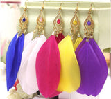 Vintage The Feather Earrings For Women Female Charm Jewelry Fashion Long Earrings