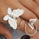 Fashion Double Alloy Rhinestone Butterfly Ring Wedding Ring 18K Gold Plated Fashion Brand CZ Diamond Jewelry