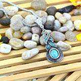 Vintage Necklace For Women Elegant Geometric long Pendant Charming Women Silver Metal Turquoise necklace Women's Jewelry