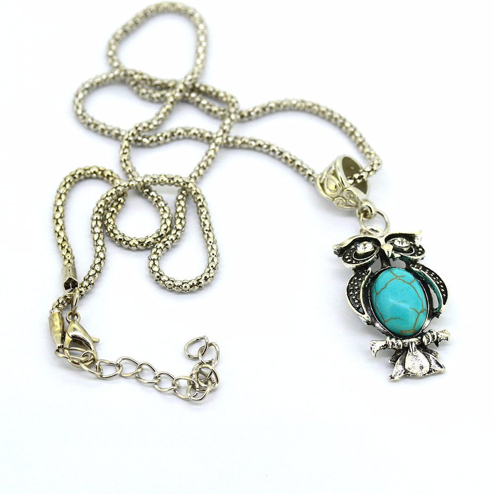 Special Owl Turquoise Necklaces Silver Pendant Accessories for Women Clothing Women's Vintage Style