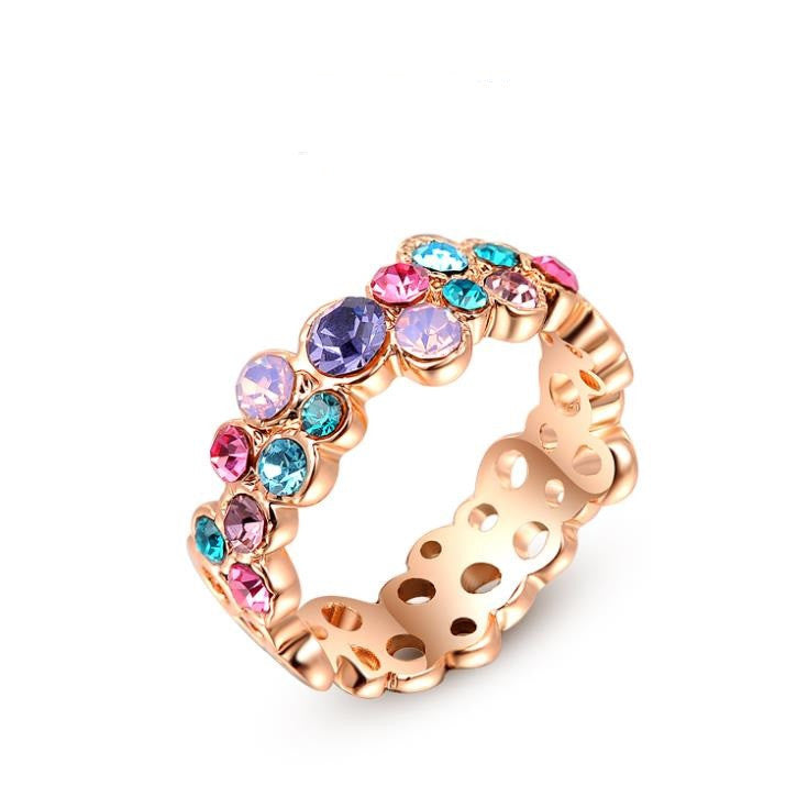 Fashion Colorful Austrian Crystal Ring white Gold Plated Gift Jewelry for Women