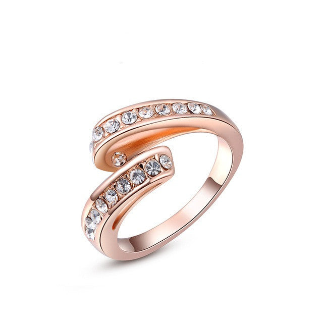 Genuine Austrian Crystal Fashion Ring Rose Gold Plated Rings Jewelry for Women