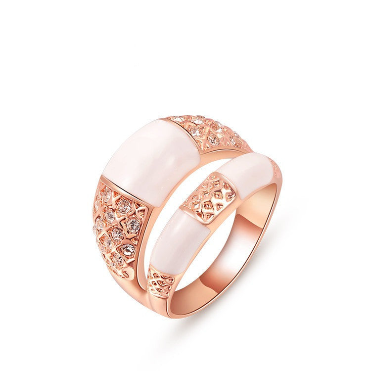 Rose Gold Plated Fashion Big Ring with Austrian Crystal Women Jewelry for Party