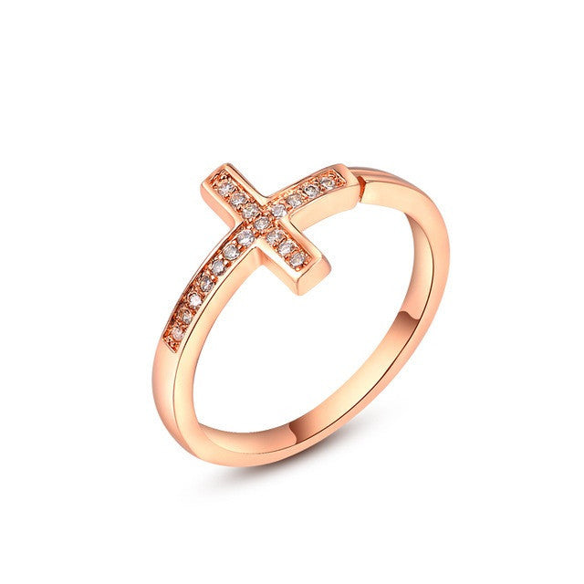 Rose Gold Plated Fashion Opening Cross Ring with Zircon Crystal Female Jewelry