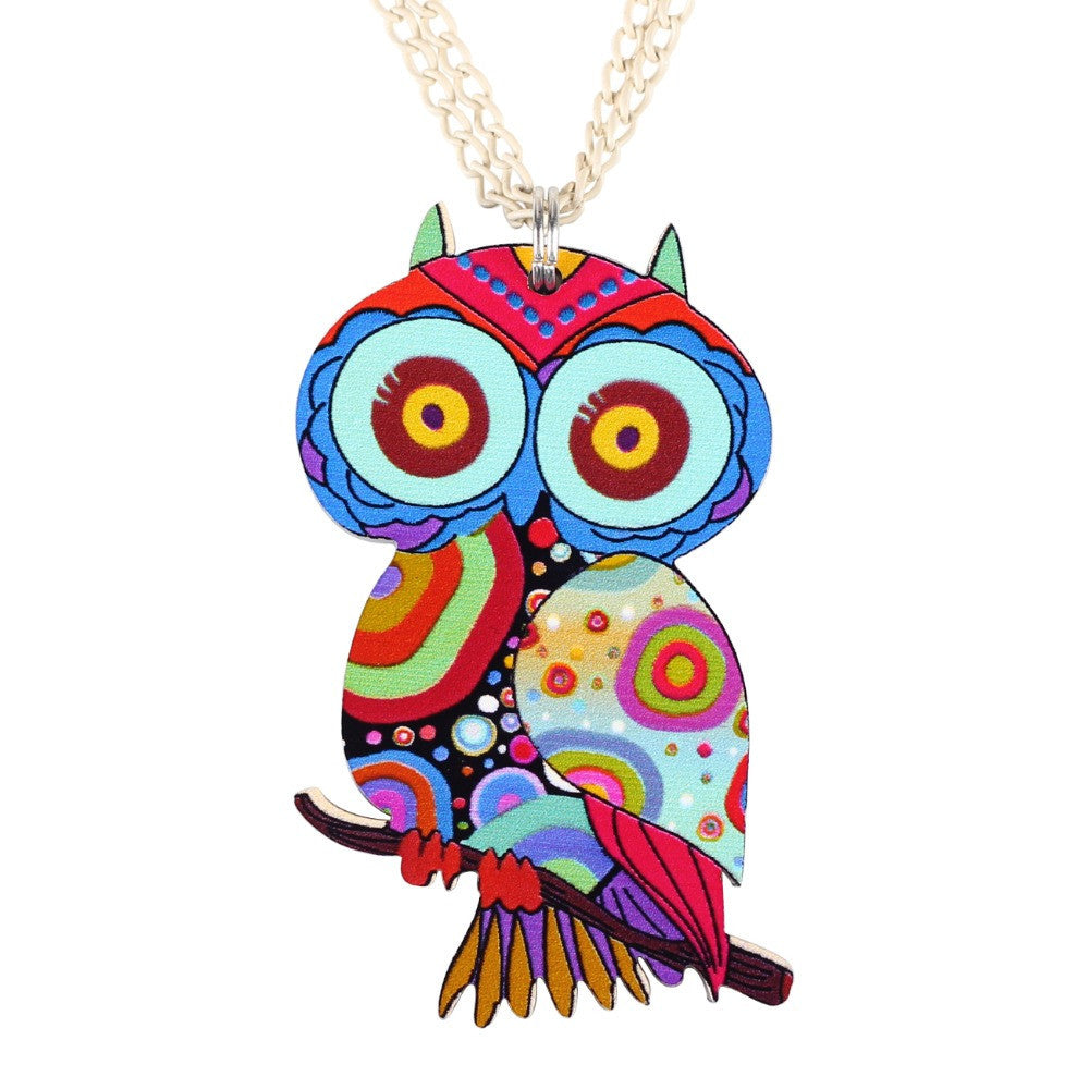 Owl Necklace Acrylic Pattern Chain Animal Bird Pendant Fashion Jewelry News Accessories Famous Brand Unique Design