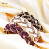New women metal winding bracelet with a rope