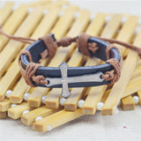 Bracelet For Women Men Jewelry Handmade Braid Genuine Leather bracelet Wrap Charm Cross Bracelets Bangles Fine Jewelry