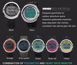 SKMEI Heart Rate Monitor Pedometer Sports Watches 50M Waterproof Outdoor Digital Men Women Calorie Counter