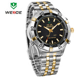 WEIDE Watches Men Luxury Brand Stainless Steel Military Watch Multifunction Waterproof LED Digital Quartz Wristwatches