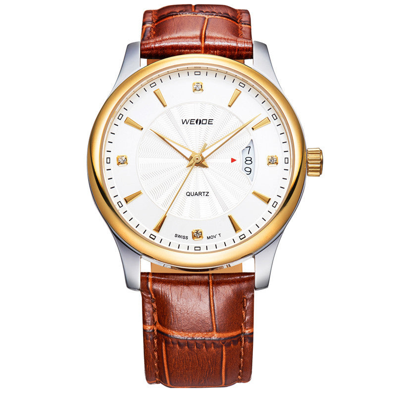 Top Brand WEIDE Luxury Quartz Watch Gold Genuine Leather Strap Men Dress Watches Casual Rhinestone Men Wristwatches