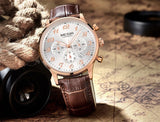 MEGIR 2015 New Chronograph 24 Hours Men Watch Leather Strap Business Casual Watch Quartz Watch Men Wristwatch