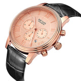 Orginal MEGIR Chronograph 6 Hands 24 Hours Function Men Top Luxury Brand Watch Genuine Leather Men Business Watch Casual Watch