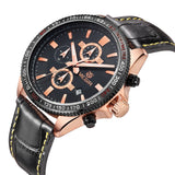 Megir New Chronograph Function Sport Watch Men Luxury Brand Watches Genuine Leather Quartz Casual Watch Men Wristwatch