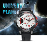 WEIDE Universe Mens Watch Two Time Zones Analog Calendar Display Oversized Wristwatch 30m Waterproof Sport Watches For Men