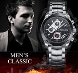 PREMA Chronograph Watch Men Luxury Brand Silver Stainless Steel Date Quartz Watch Sport Watch Men Wristwatch